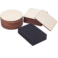 PandaHall Elite 27pcs Blank Wooden Slices Wood Circle Square Cutouts Tiles Backing Sheets with Sanding Sponge for Coasters, Painting, Writing, DIY Supplies, Photo Props, Home, Christmas