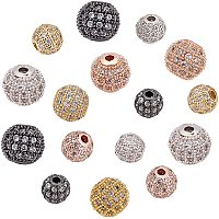 NBEADS 16 Pcs Cubic Zirconia Beads, 4 Colors 6mm/8mm Brass Clear Gemstones Spacer Beads Round Charms Pave Micro CZ Stones Disco Ball Beads for Jewelry Making DIY Craft