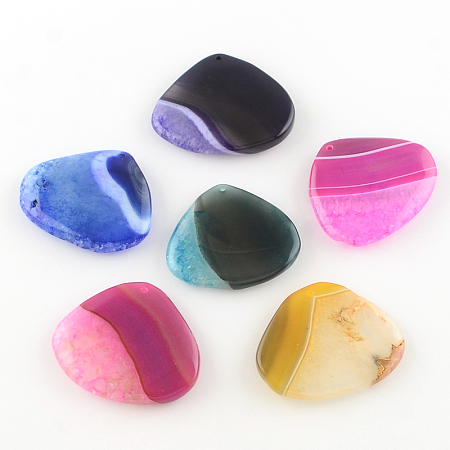 NBEADS Dyed Drop Natural Crackle Agate Pendants, Mixed Color, 42~46x48~54x7~10mm, Hole: 2mm