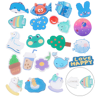 SUPERFINDINGS Acrylic Safety Brooches, with Iron Pin, Mixed Shapes, Mixed Color, 20pcs/box