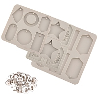 DIY Silicone Pendant Molds Kits, Resin Casting Molds, with Brass Grommet Eyelet Findings, Tan, 186x140x11.5mm, Hole: 5mm, Inner Diameter: 48.5x79mm, 1pc