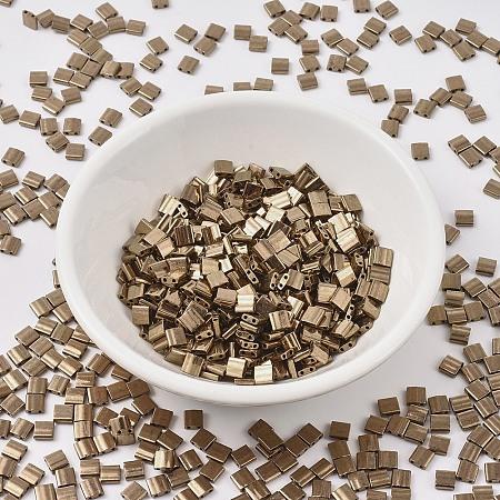 MIYUKI TILA Beads, Japanese Seed Beads, 2-Hole, (TL457) Metallic Dark Bronze, 5x5x1.9mm, Hole: 0.8mm; about 118pcs/10g
