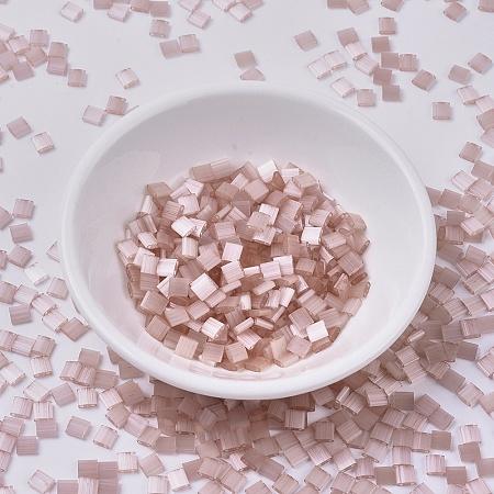 MIYUKI TILA Beads, Japanese Seed Beads, 2-Hole, (TL2557) Silk Pale Pink, 5x5x1.9mm, Hole: 0.8mm; about 118pcs/10g