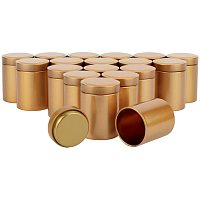 BENECREAT 18 Packs 2.6oz Tinplate Tea Cans with Lids Goldenrod Round Tin Box for Loose Leaf Tea, Coffee Beans, Sugar, Spices Storage