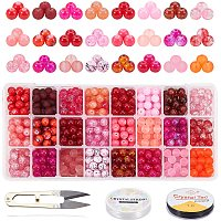 PH PandaHall 24 Color 8mm Glass Beads 7 Style Red Series Round Loose Beads Glass Spacer Beads with Scissors, Crystal String, Needles for Necklace Bracelets Jewelry Making, About 672pcs Totally