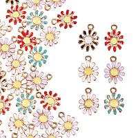 PandaHall Elite 30pcs 6 Color Daisy Flower Charms Pendant Plant Flower Enamel Dangle Charms Beads for Necklace Bracelet Earrings DIY Jewelry Making