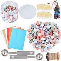 CRASPIRE Sealing Wax Beads Wax Seal Kit, include Wax Seal Spoon, Vintage Envelopes, Hemp String, Satin Ribbon, Mixed Color, 9x5mm