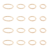 Alloy Spring Gate Rings, Oval Ring, Push Gate Snap Keychain Clasp Findings, Golden, 16pcs/box