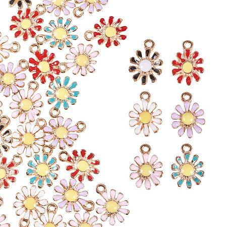 PandaHall Elite 30pcs 6 Color Daisy Flower Charms Pendant Plant Flower Enamel Dangle Charms Beads for Necklace Bracelet Earrings DIY Jewelry Making