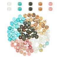 Natural Mixed Gemstone Beads, Round, Heishi Bead, Flat Round/Disc, 4x2mm, Hole: 0.7mm; 100pcs/box