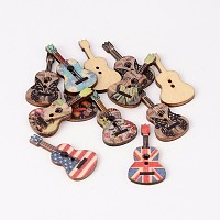 2-Hole Guitar Printed Wooden Sewing Buttons, Mixed Color, 36x18x3mm, Hole: 2mm