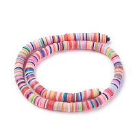 Environmental Handmade Polymer Clay Beads, Disc/Flat Round, Heishi Beads, with Clear Elastic Crystal Thread, Mixed Color, 8x0.5~1mm, Hole: 2mm, 17.7 inches; about 380~400pcs/strand, 5strands/set, 1900~2000pcs/set