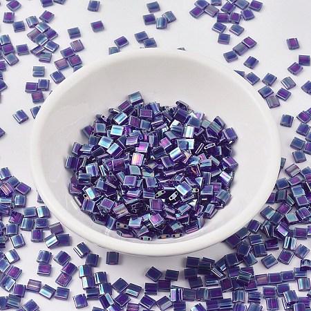MIYUKI® TILA Beads, Japanese Seed Beads, 2-Hole, (TL177) Transparent Cobalt AB, 5x5x1.9mm, Hole: 0.8mm; about 118pcs/10g