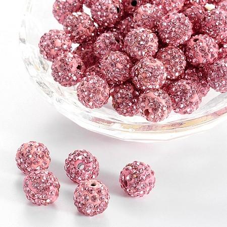 PANDAHALL ELITE Pave Disco Ball Beads, Polymer Clay Rhinestone Beads, Round, 10mm, Hole: 1.5mm, Light Rose, 10mm, Hole: 1.5mm; 100pcs/box