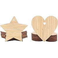 OLYCRAFT 20pcs Unfinished Wood Pieces Star & Heart Shape Unpainted Burlywood Blank Wood Pieces Wooden Slices Tags with Hole for Pendants Craft Projects Hanging Decorations Painting Staining