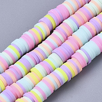 Handmade Polymer Clay Beads Strands, for DIY Jewelry Crafts Supplies, Heishi Beads, Disc/Flat Round, Mixed Color, 6x0.5~1mm, Hole: 1.8mm; about 320~447pcs/strand, 15.75 inches~16.14 inches(40~41cm)
