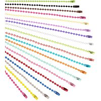 Arricraft 57pcs 19 Color Ball Bead Metal Chain Bead Metal Chain Necklace with Connectors for Tags Chain, Key Chain, Jewelry Findings, Craft Projects, 2.4mm