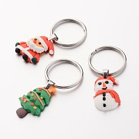 Arricraft Christmas Stainless Steel Keychain, with Handmade Polymer Clay Pendants, Mixed Color, 50~55mm