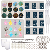 SUNNYCLUE DIY Keychain & Keychain Kit, with Twelve Constellations Silicone Molds, Plastic Transfer Pipettes, Measuring Cup, Latex Finger Cots, Waxed Cotton Cord Necklace, Alloy Keychain Findings, Clear, 6x0.7mm; Inner Diameter: 4.6mm