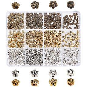 Pandahall Elite 420pcs 12 Styles 3D Flower Spacer Beads, Tibetan Metal Beads Jewelry Beads Loose Beads for Bracelet Necklace Earring Jewelry Making Supplies