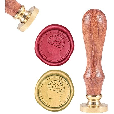 CRASPIRE Wax Seal Stamp, Sealing Wax Stamps Human Brain Retro Wood Stamp Wax Seal 25mm Removable Brass Seal Wood Handle for Envelopes Invitations Wedding Embellishment Bottle Decoration Gift Packing