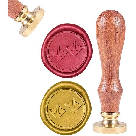 CRASPIRE Duck Web Wax Seal Stamp, Sealing Wax Stamps Retro Wood Stamp Wax Seal 25mm Removable Brass Seal Wood Handle for Envelopes Invitations Wedding Embellishment Bottle Decoration