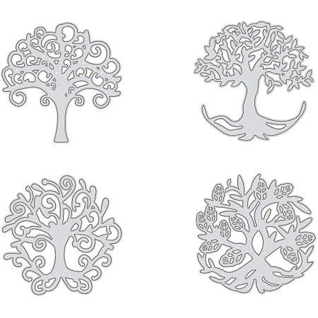 PandaHall Elite Metal Cutting Dies Stencils, 4 pcs Tree of Life Shape Carbon Steel Scrapbooking Dies Cuts Scrapbooking Die Cuts Stencils Template Embossing for DIY Scrapbooking Card Making