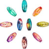 ARRICRAFT Baking Painted Glass Beads, Oval, Mixed Color, 22x10~10.5mm, Hole: 1mm, 10 colors, 10pcs/color, 100pcs/box