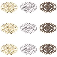 Arricraft 150 pcs 3 Colors Tibetan Style Iron Oval Filigree Charm Pendant Link Connectors for Earring Necklace Jewelry DIY Craft Making, Mixed Colors