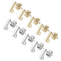 Unicraftale 304 Stainless Steel Stud Earring Findings, with Loop and Ear Nut, Rectangle, Golden & Stainless Steel Color, 10x2x2mm, Hole: 1.5mm, Pin: 0.8mm