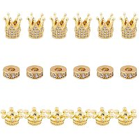 SUNNYCLUE  Brass Micro Pave Cubic Zirconia Beads, Mixed Shapes, Golden, 18pcs/box