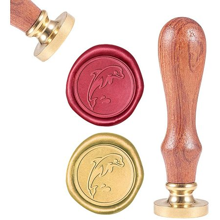 CRASPIRE Wax Seal Stamp, Sealing Wax Stamps Dolphin Retro Wood Stamp Wax Seal 25mm Removable Brass Seal Wood Handle for Envelopes Invitations Wedding Embellishment Bottle Decoration Gift Packing