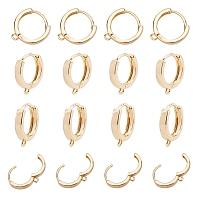 ARRICRAFT Brass Huggie Hoop Earring Findings, Real 18K Gold Plated, 16.5x14.5x3.5mm, Hole: 1.5mm; Pin: 1mm, 20pcs