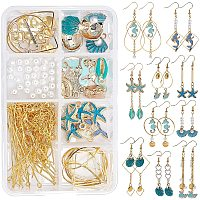 SUNNYCLUE DIY Dangle Earring Making Kits, include Alloy Enamel Pendants, Iron Links Connectors, Brass Linking Rings & Cable Chains, Glass Pearl Beads, Golden & Light Gold, 4mm, Hole: 0.8~1mm, 30pcs/box