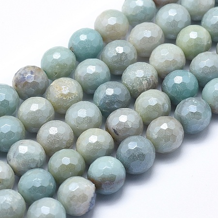 Natural Amazonite Beads Strands, Round, Faceted, 6mm, Hole: 1mm; about 64~65pcs/strand, 15.1~15.5 inches(38.5~39.5cm)