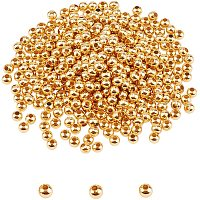 Unicraftale 304 Stainless Steel Beads, Round, with Bead Container, Golden, 4x3.5mm, Hole: 1.6mm, about 400pcs/box