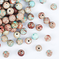 Olycraft Natural Regalite/Imperial Jasper/Sea Sediment Jasper Beads Strands, Round, Dyed, 8mm, Hole: 1mm; about 48pcs/strand, 15.7 inches, 2strands/box