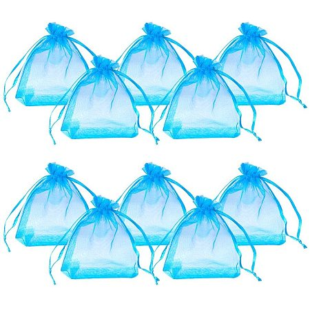 Organza Bags, with Ribbons, Deep Sky Blue, 9x7cm