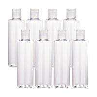 Transparent Flat Shoulder Plastic Press Cap Bottles, Refillable Bottles, Clear, 17.1cm; Capacity: 250ml
