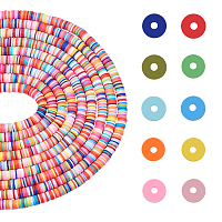 Environmental Handmade Polymer Clay Beads, for DIY Jewelry Crafts Supplies, Disc/Flat Round, Heishi Beads, Mixed Color, 8x0.5~1mm, Hole: 2mm; about 380~400pcs/strand, 17.70''(44.95cm)