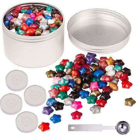 CRASPIRE DIY Letter Seal Kit, with Sealing Wax Particles, Stainless Steel Spoon, Candle and Aluminium Tin Cans, Mixed Color, 118x26x9mm
