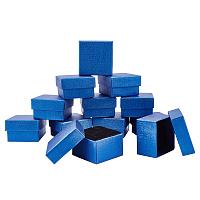 Cardboard Jewelry Boxes, with Sponge Pad Inside, Square, for Anniversaries, Weddings, Birthdays, Marine Blue, 5.15x5x3cm