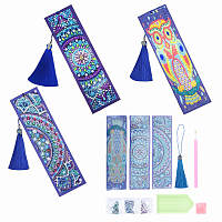 SUNNYCLUE DIY Diamond Painting Bookmarks, with Tray Plate, Drill Point Nails Tools, DIY Tassel Bookmark Gift, Rhinestone and Cabochons, for Embroidery Arts Crafts, Purple, 170~190mm; 3sets/bag