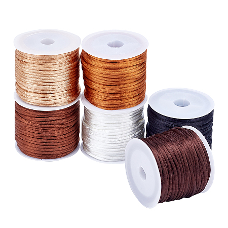 Nylon Rattail Satin Cord, Beading String, for Chinese Knotting, Jewelry Making, Mixed Color, 2mm; about 10m/roll, 6 colors, 1roll/color, 6rolls