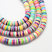 """Arricraft Handmade Polymer Clay Beads, Disc/Flat Round, Heishi Beads, Mixed Color, 8x0.5~1mm, Hole: 2mm; about 380~400pcs/strand, 17.7"""""""