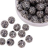 ARRICRAFT 100 Pcs 10mm Hematite Shamballa Pave Disco Ball Clay Beads, Polymer Clay Rhinestone Beads Round Charms Jewelry Makings