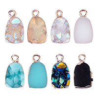 Druzy Resin Pendants, with Edge Light Gold Plated Iron Loops, Mixed Color, 17.5x10x8mm, Hole: 1.8mm; 4colors, 5pcs/color, 20pcs/box