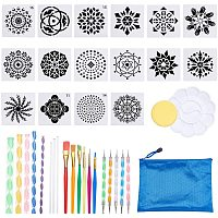 BENECREAT 37 Sets Mandala Painting Dotting Tools Drawing Painting Stencils Brushes Paint Tray with Blue Zip Bags for Painting Rocks Coloring Drawing and Drafting Art Supplies