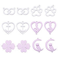 PandaHall Elite 12pcs 6 Styles Aluminum Links Connectors Pendants Charms for DIY Jewelry Making Accessories (Dog Footprints, Moon with Owl, Clover, Heart, Musical Note)