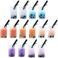 NBEADS 42 Pcs Faux Glass Bottle Charms, 7 Colors Resin Bottle Boba Milk Bubble Tea Charms Pendants for Earring Bracelet Necklace Scrapbooking DIY Crafts